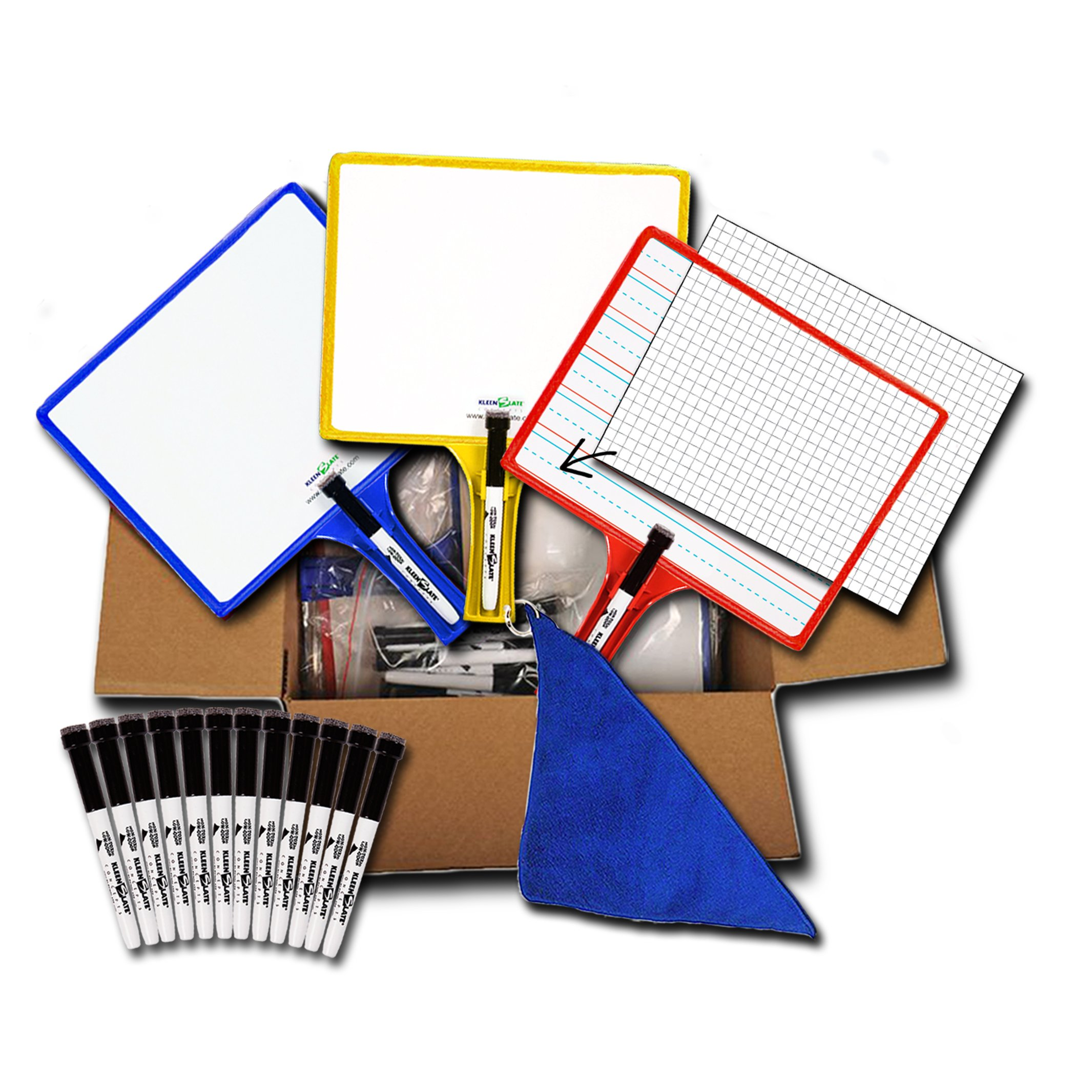 Set of 12 Customizable whiteboards w/Dry Erase Sleeve & Interchangeable Graphic Organizers + Bonus by KleenSlate