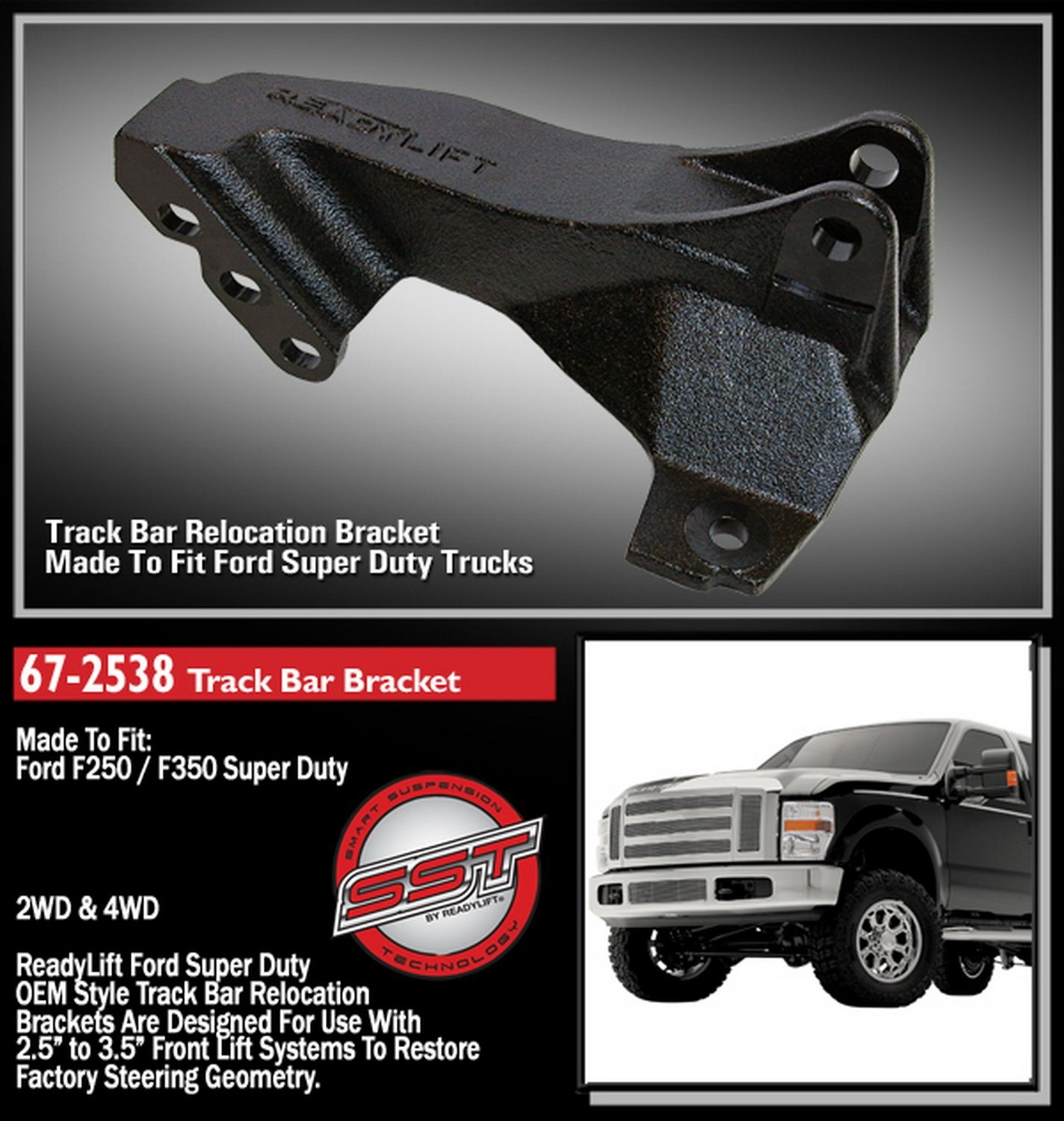ReadyLift 67-2538 Track Bar Relocation Bracket for F250/F350/F450 by Readylift (Image #2)