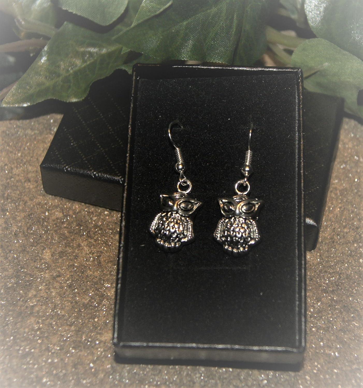 Gift Boxed Handmade Little Owl Silver Plate Earrings Pair