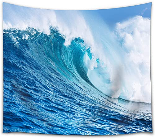 Home Tapestry Ocean Theme, Seaside Marine Surfing Windy Ocean Waves Tapestry Sea Wall Hanging Fabric for Bedroom Living Room Wall Decor Blanket Blue 71 H x 90 W
