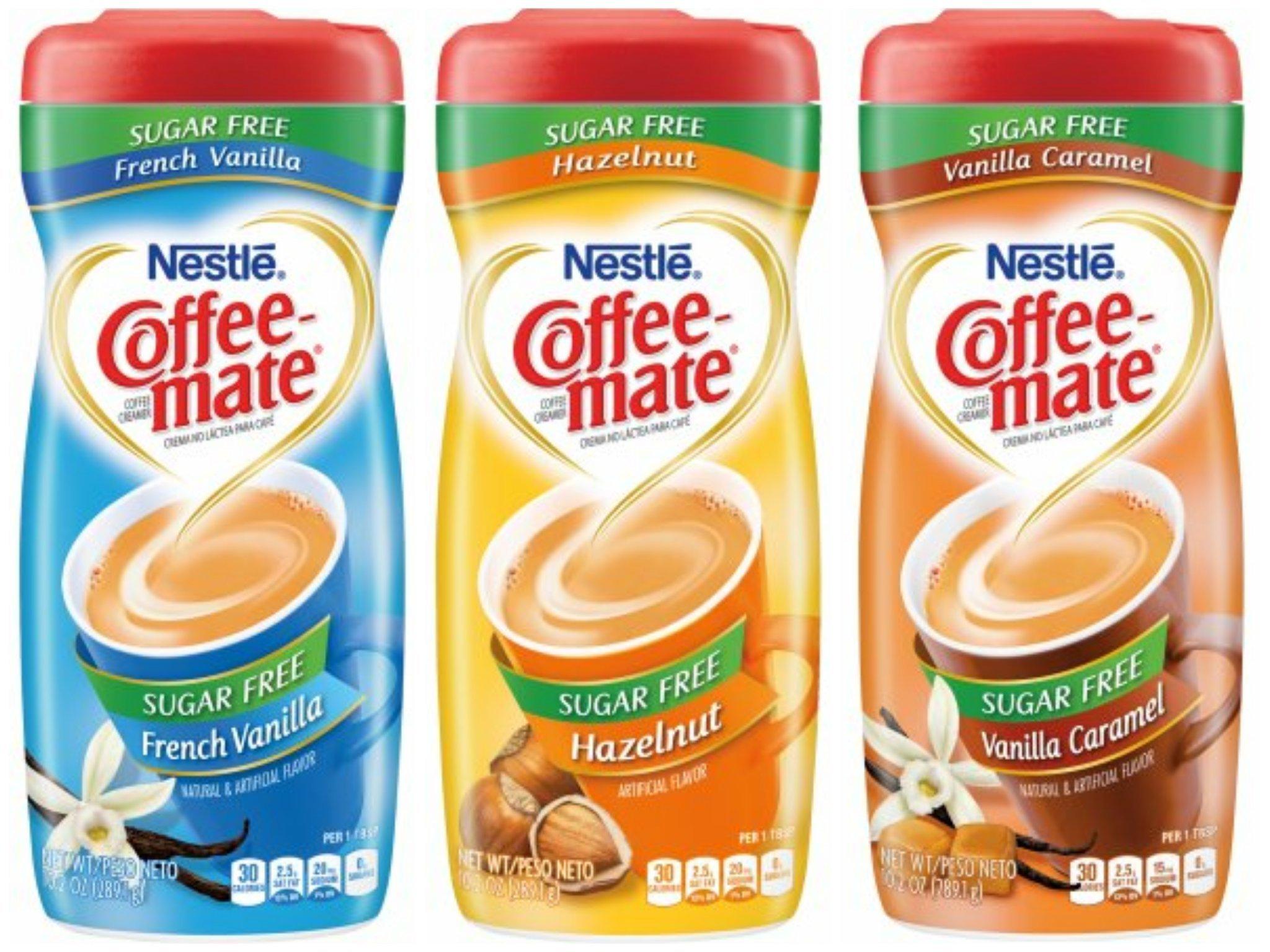Nestle Coffee-mate Sugar Free French Vanilla, Hazelnuet & Vanilla Caramel Coffee Creamers - 10.2 oz. Canisters (6 pack)