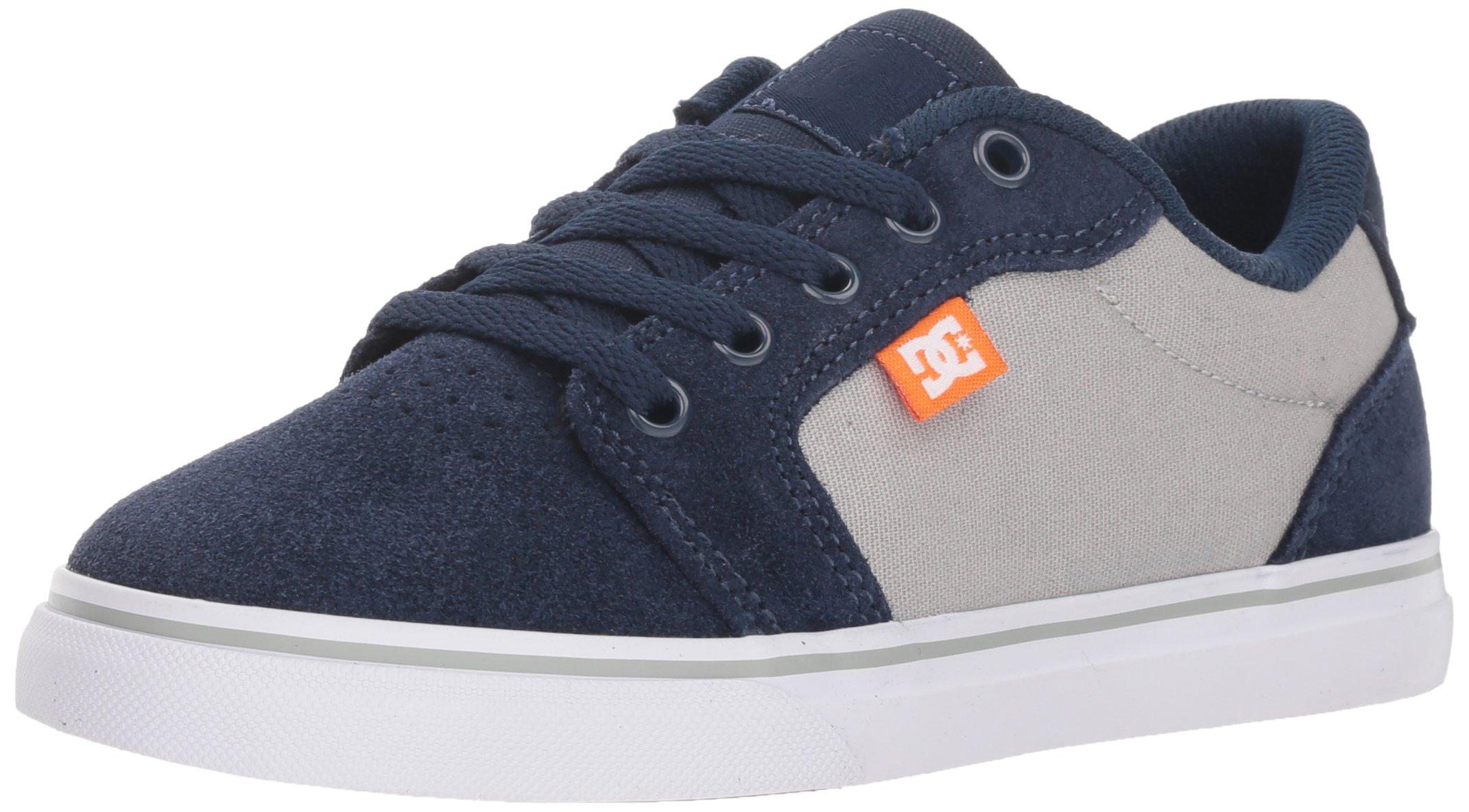 DC Youth Anvil Skate Shoe (Little Big Kid), Navy/Grey 2.5 M US