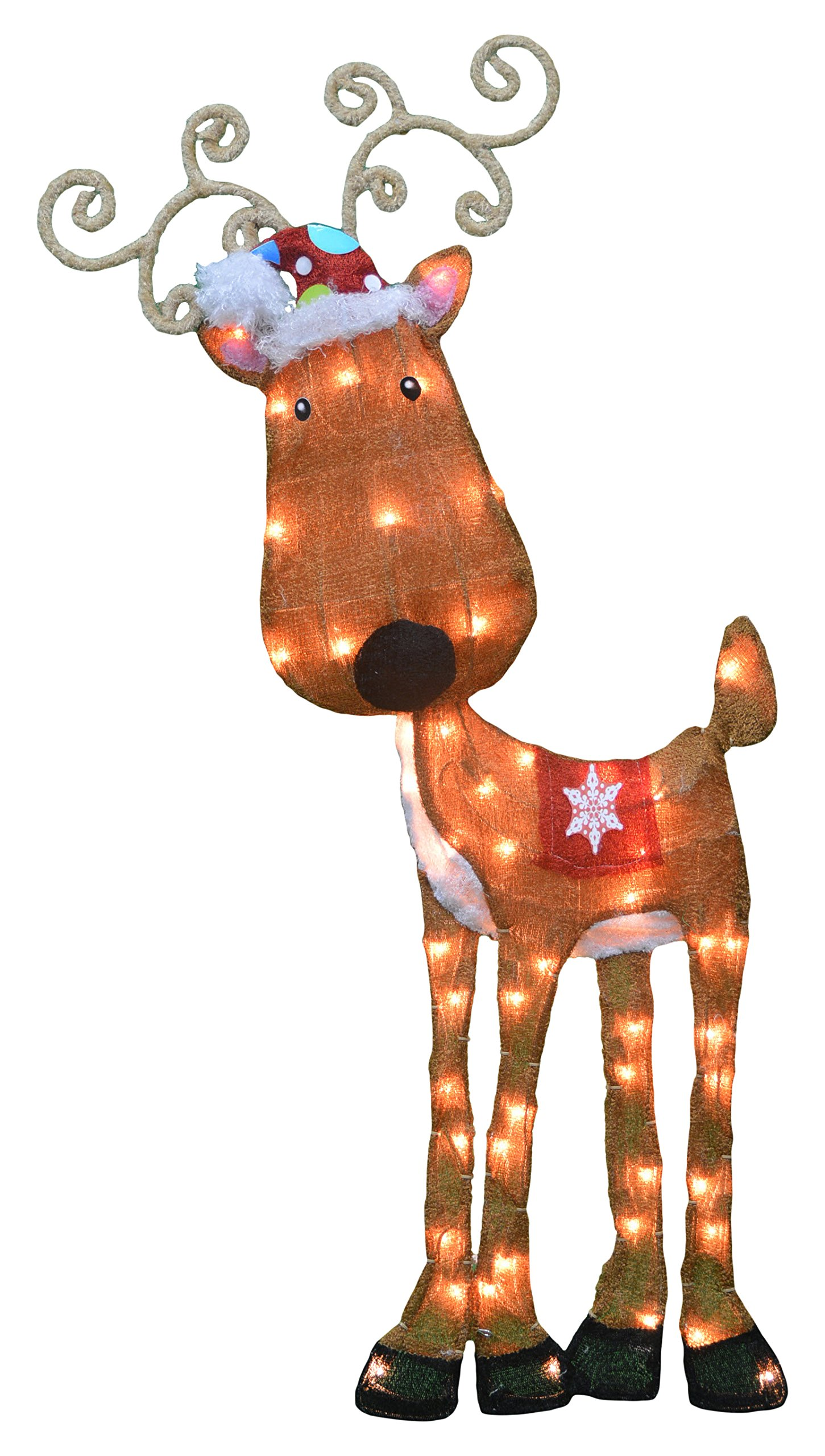 ProductWorks 32-Inch Pre-Lit Victoria Hutto Reindeer Christmas Yard Decoration, 50 Lights