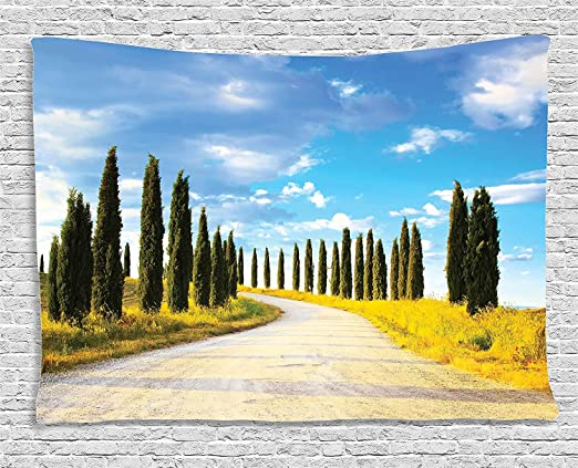 Tapicería de decoración toscana, vista de un camino de la ...
