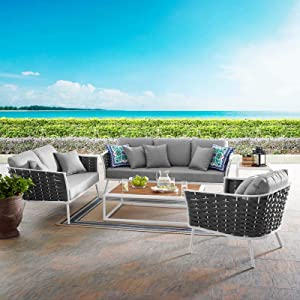 Modway EEI-3159-WHI-GRY-SET Stance Outdoor Patio Aluminum Sectional Sofa Set, 6 Piece, White Gray