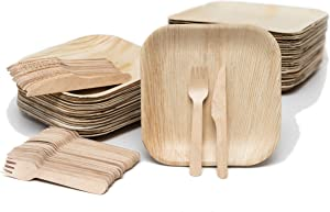EvermadeGREEN Disposable Palm Leaf Plates and Wooden Utensils 150 Pc - Eco Friendly Alternative to Bamboo Plates, Wooden Plates or Paper Plates - 50 8