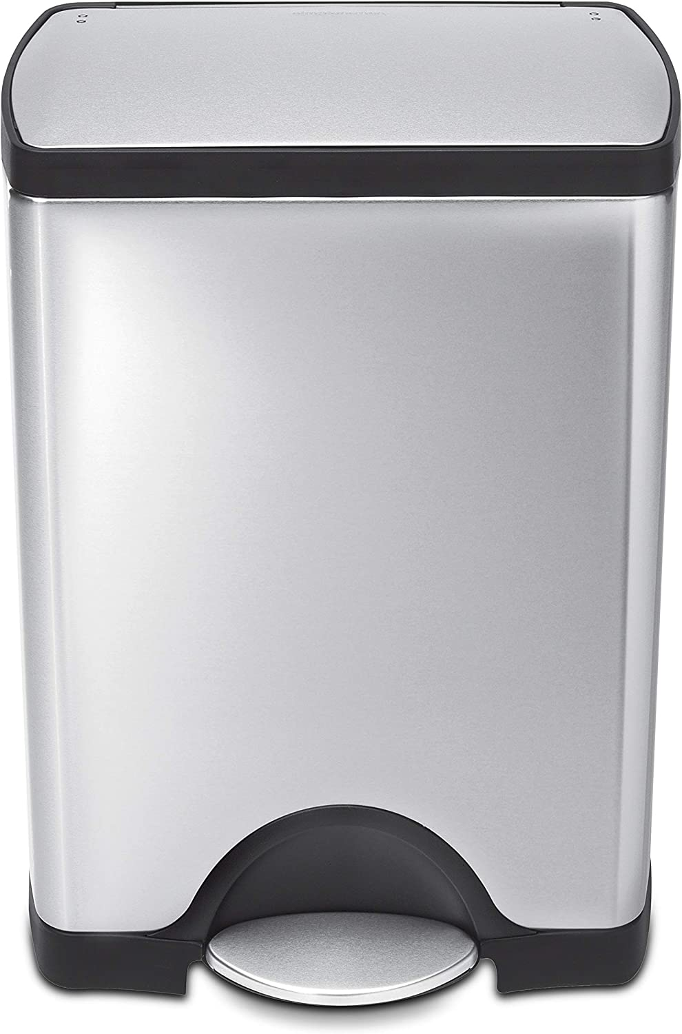 simplehuman 30 Liter / 8 Gallon Rectangular Kitchen Step Trash Can, Brushed Stainless Steel