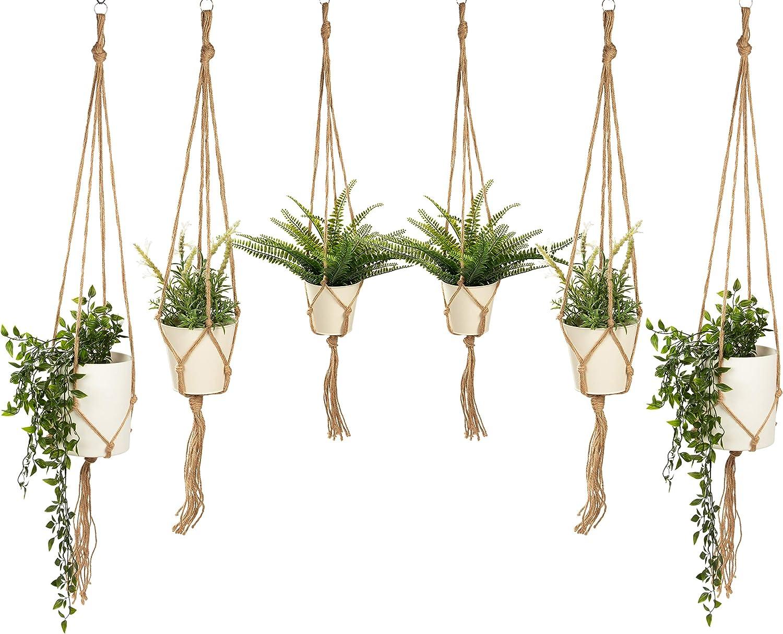 Macrame Plant Hangers – 6-Count Jute Rope Plant Hangers, Indoor Outdoor Hanging Planter Holders, Brown, 3 Sizes, 35.5-Inch, 41-Inch, 48-Inch