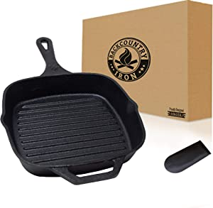"Backcountry Cast Iron 8"" Medium Square Grill Pan (Pre-Seasoned for Non-Stick Like Surface, Cookware Range/Oven/Broiler/Grill Safe, Kitchen Skillet Restaurant Chef Quality)"