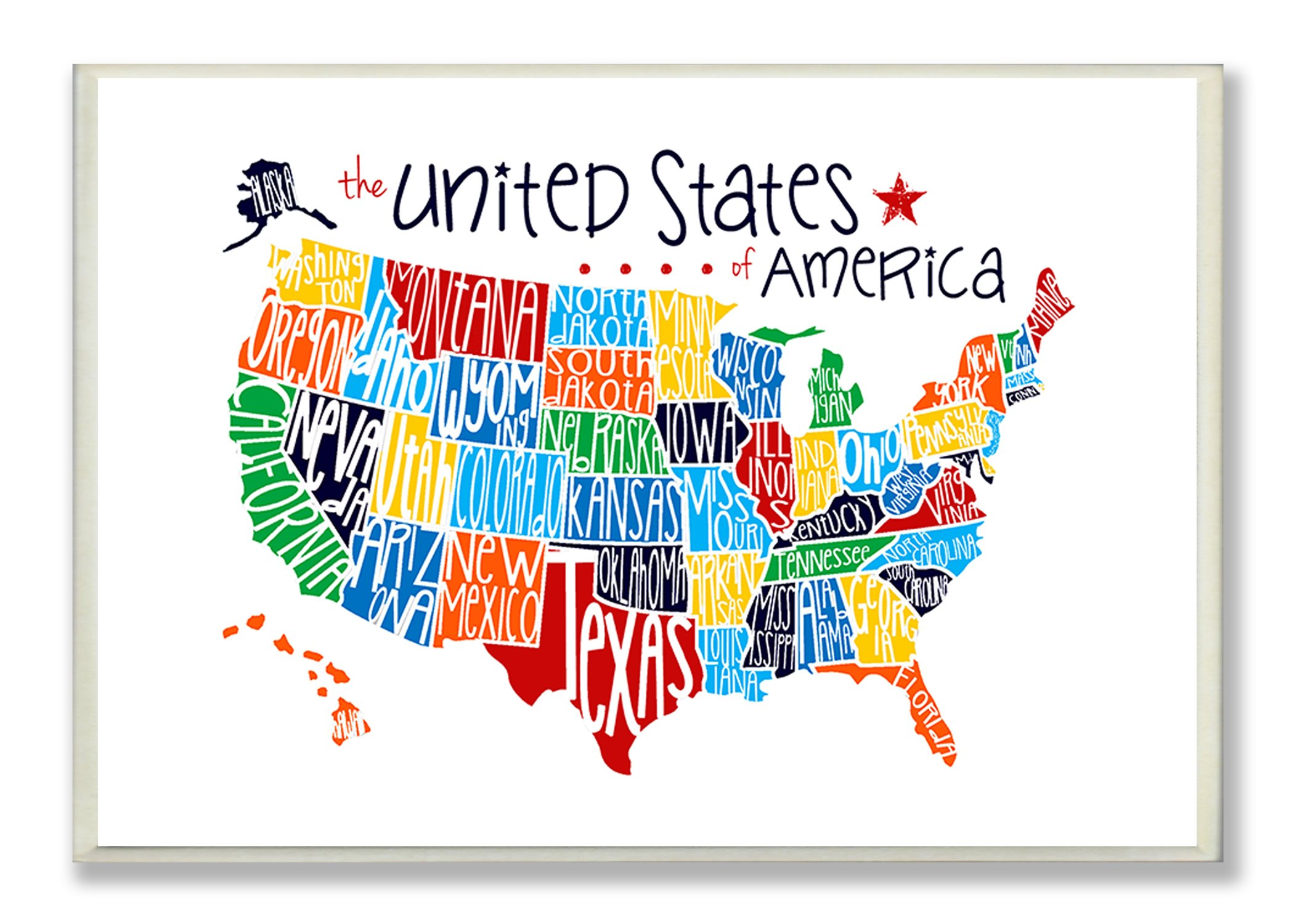 The Kids Room by Stupell Use Rainbow Typography Map On White Background Rectangle Wall Plaque, 11 x 0.5 x 15, Proudly Made in USA