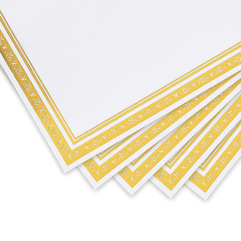 50 Fogli Carta A4 Bianchi Bordo Oro 180 GSM Cerimonie Carta Pergamena Stampabile a Getto d/'Inchiostro Carta da Lettere per Competizioni Carta Certificati Certificazioni Premio Fogli A4