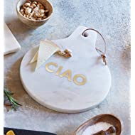 White Marble Cheese Board with Gold Stamped Ciao, 9 Inch