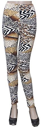 Leopard and Zebra Print Animal Pattern Leggings Trendy Sexy Pants Brown 3168-14120207