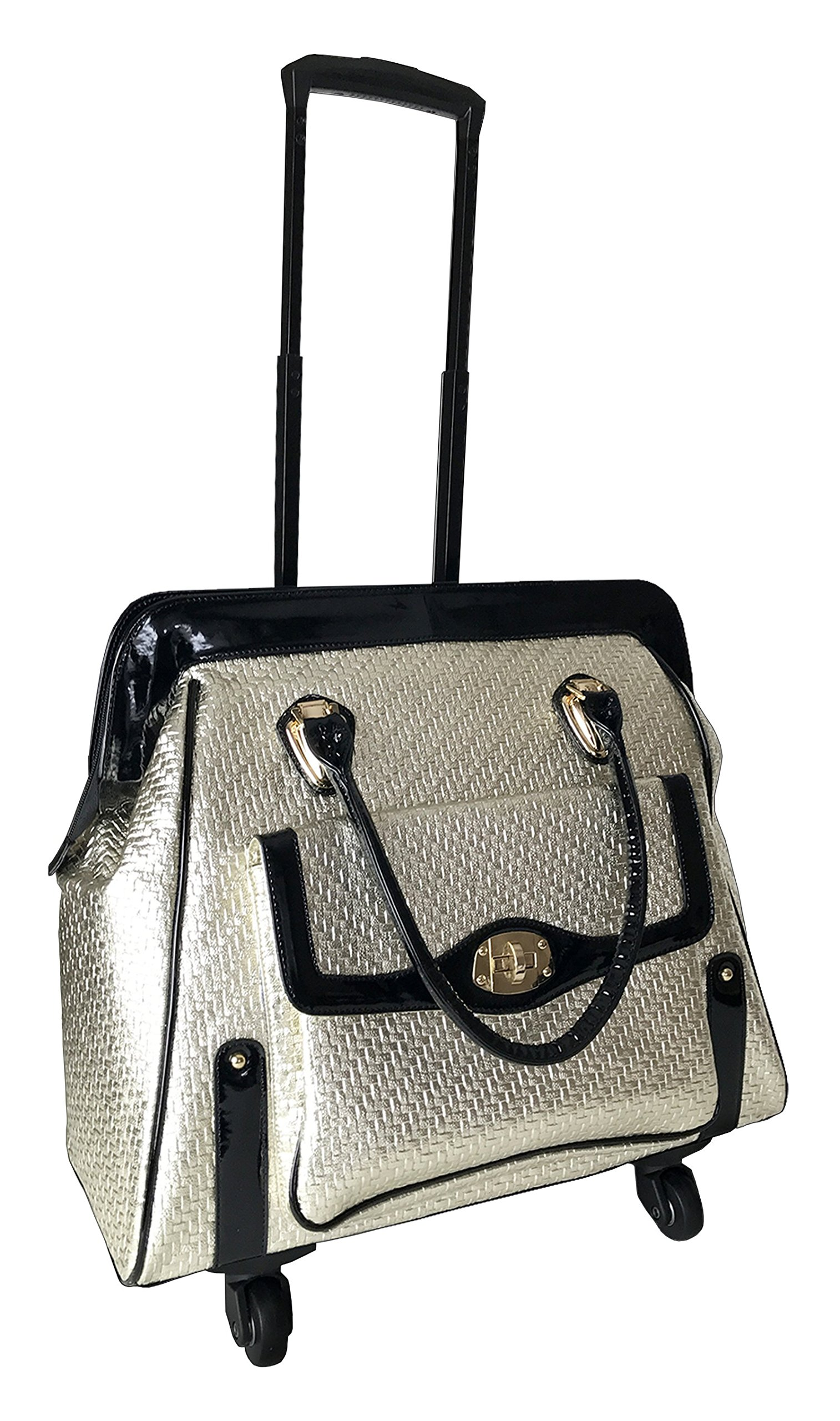 Trendy Flyer 20''Computer/Laptop Rolling Bag 4 Wheel Case Tote Gold by Trendyflyer Collection