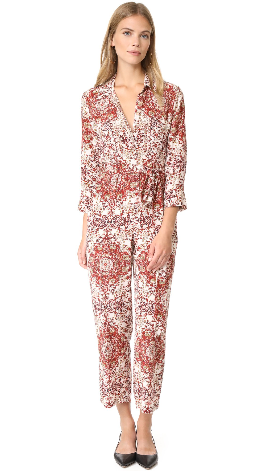 L'AGENCE Women's Delia 3/4 Sleeve Jumpsuit, Rhubarb Multi, 10 by L'agence (Image #1)