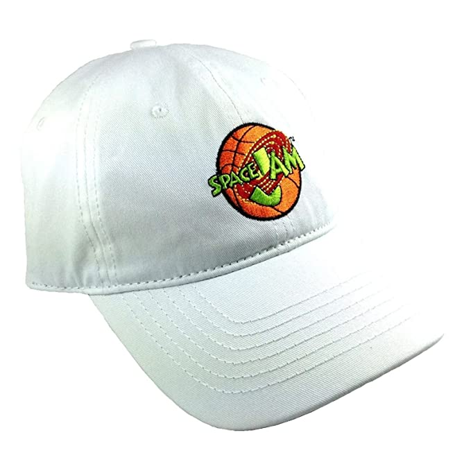 649585b9f0e Image Unavailable. Image not available for. Color  White Space Jam  Embroidered Logo Adjustable Dad Hat