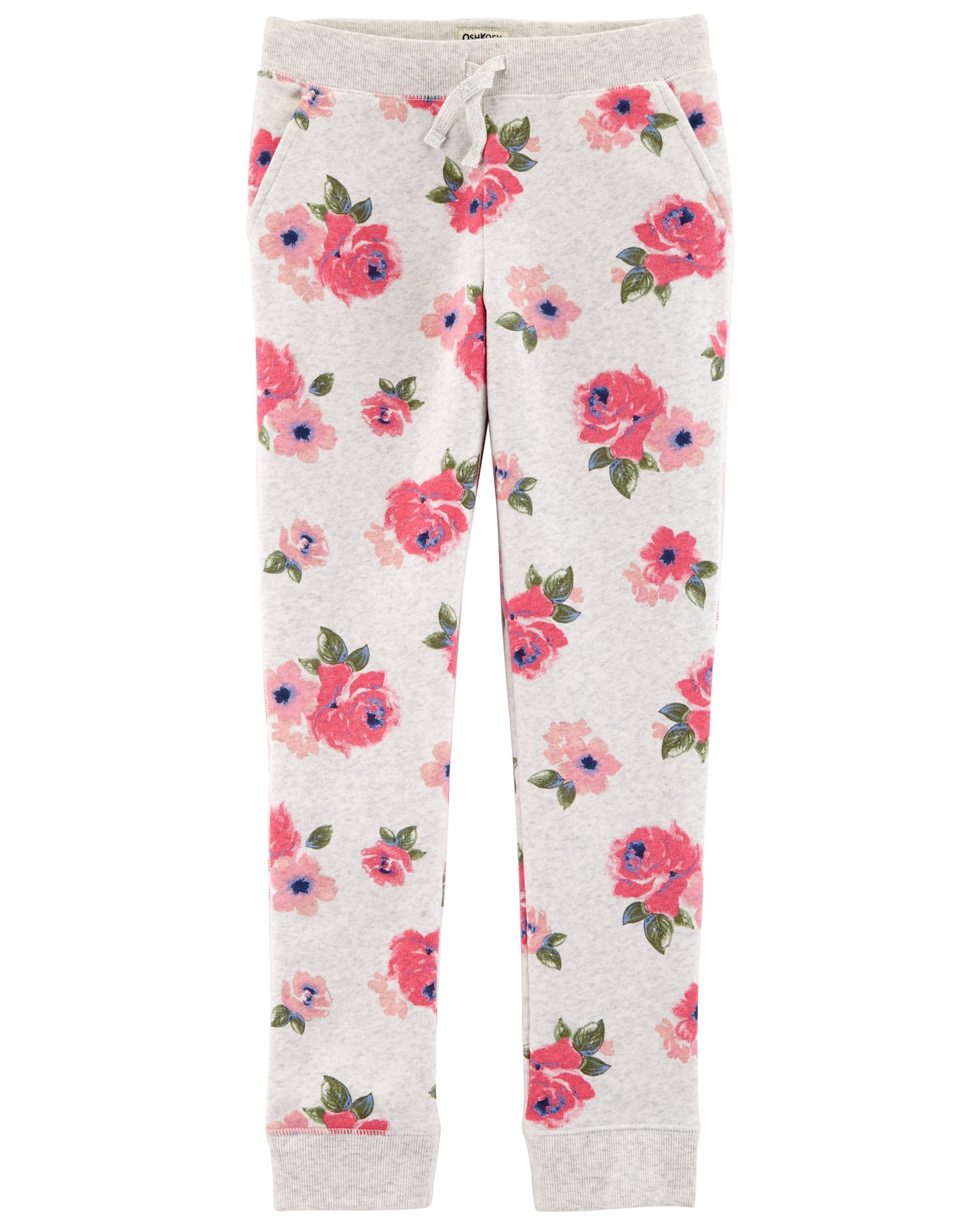 OshKosh B'Gosh Girls' Kids Fleece Jogger Pants, Grey Floral, 6-6X