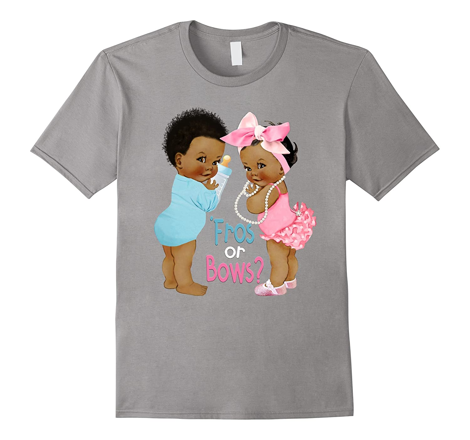 Cute 'Fros or Bows Gender Reveal Baby Shower T-Shirt-ANZ