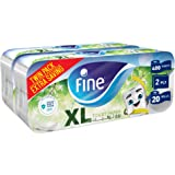Fine, Toilet Paper, Extra Long, 400 sheets x2 Ply, pack of 20 rolls, Twin Pack