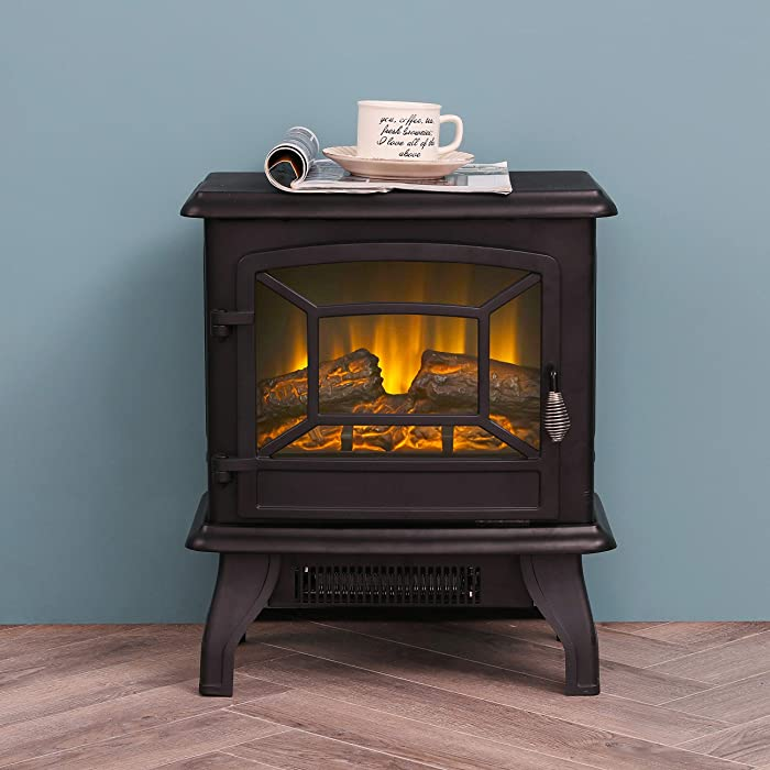 """LOKATSE HOME 17"""" Electric Fireplace Space Stove Heater Freestanding with Realistic Flame, 2 Heat Modes, 1400W Ultra Strong Power, Overheating Safety Protection, 17 inch"""