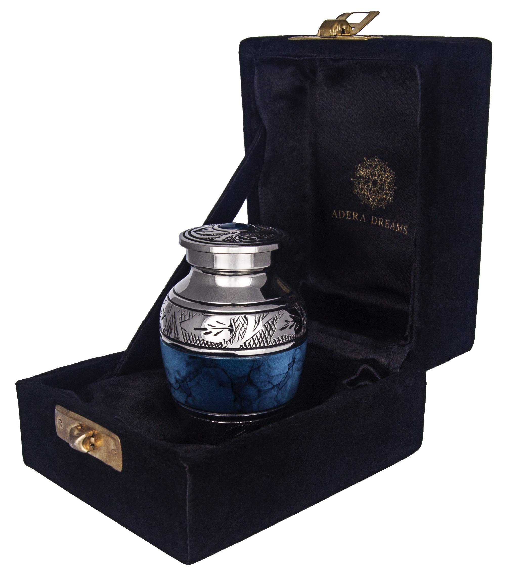 Small Cremation Urn for Human Ashes by Adera Dreams - Blue Clouds Mini Keepsake Urn - with Premium Case, Funnel and Velvet Carrying Pouch - Miniature Memorial Funeral Urn for Sharing Ashes