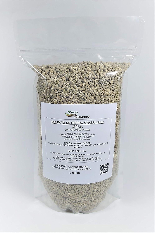 Todocultivo Sulfato de Hierro granulado 1 Kilo. Abono de Fondo Utilizado para Tratar Las clorosis férricas o amarillamiento de Las Plantas.