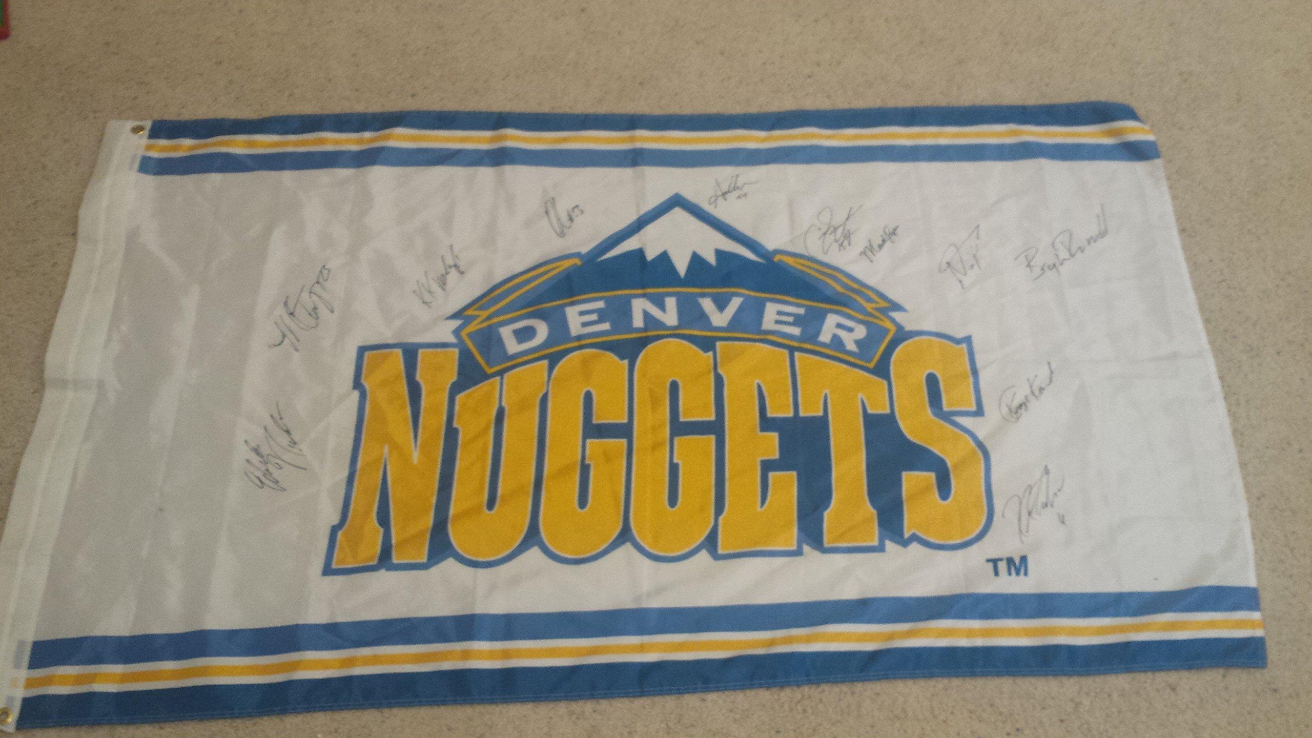 "DENVER NUGGETS 2005 05 team signed 60x34"" flag by 11 incl.Anthony, Karl, Miller, Najera, Martin,etc."