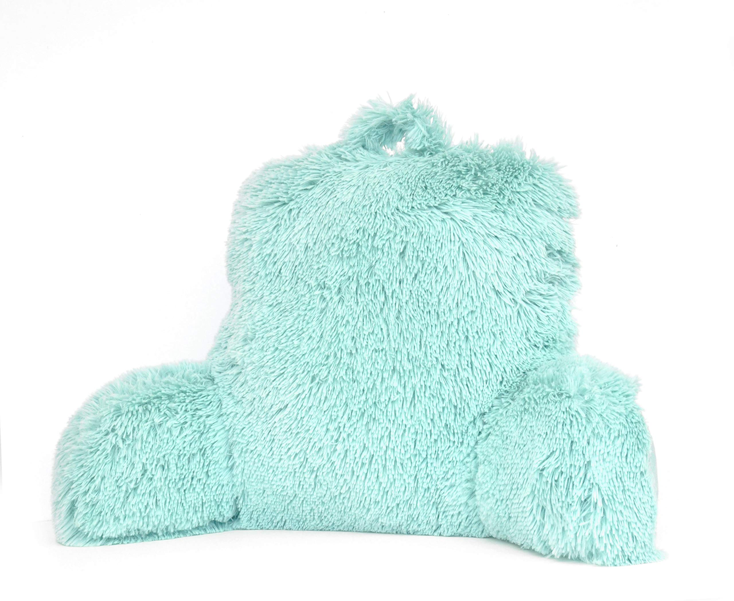 Mainstay Long Hair Faux Fur Backrest Pillow, Mint