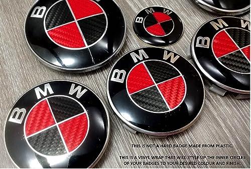 Red Black Carbon Fiber Bmw Badge Emblem Overlay Hood Trunk Rims