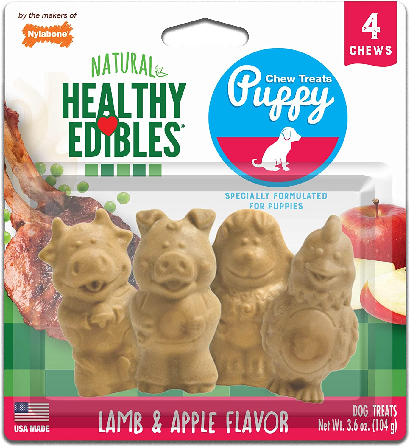 Nylabones Healthy Edibles Lamb and Apple Puppy Pals Chew Treats Variety Pack, 4 Chews Per Pack