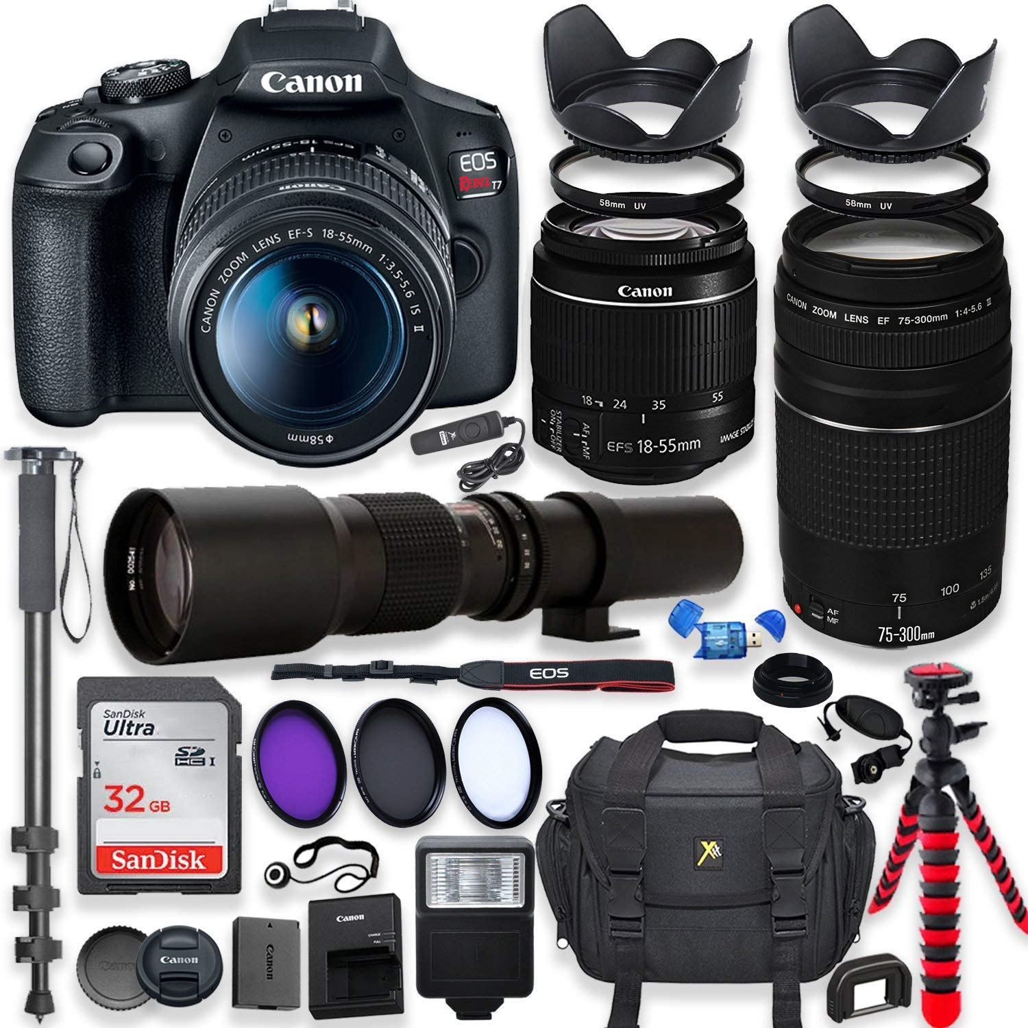 Canon EOS Rebel T7 DSLR Camera with 18-55mm is II Lens Bundle + Canon EF 75-300mm f/4-5.6 III Lens and 500mm Preset Lens + 32GB Memory + Filters + Monopod + Spider Flex Tripod + Professional Bundle by Canon