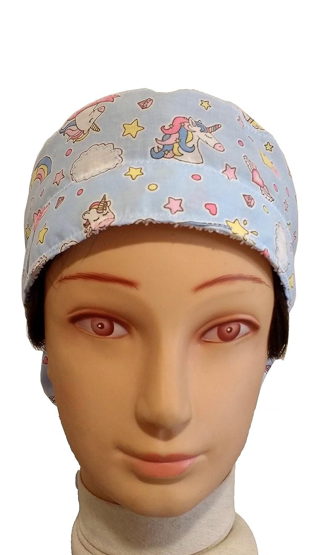 Gorro de quirófano mujer UNICORNIOS para pelo largo, cirugía, dentista, veterinaria, cocina, etc. Toalla en frente, ajuste perfecto y cabe todo el pelo.