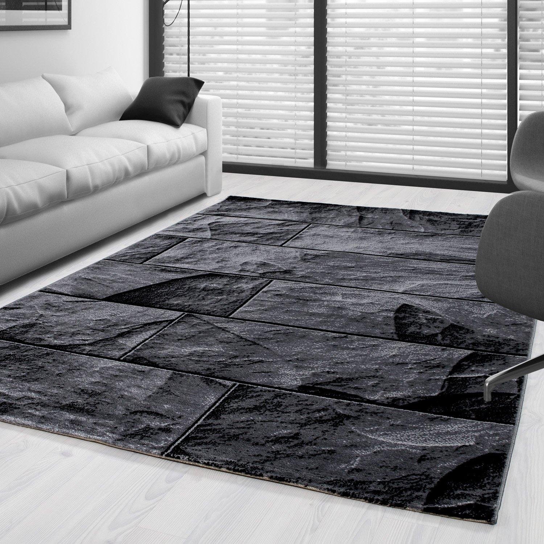 Moderner Design Stein Mauer Guenstige Teppich Kurzflor Schwarz Grau meliert 5 Groessen Wohnzimmer Gästezimmer, Flur, Schlafzimmerm, Kueche, Läufer, Größe:160x230 cm