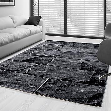Moderner Design Stein Mauer Guenstige Teppich Kurzflor Schwarz Grau meliert  5 Groessen Wohnzimmer Gästezimmer, Flur, Schlafzimmerm, Kueche, Läufer, ...