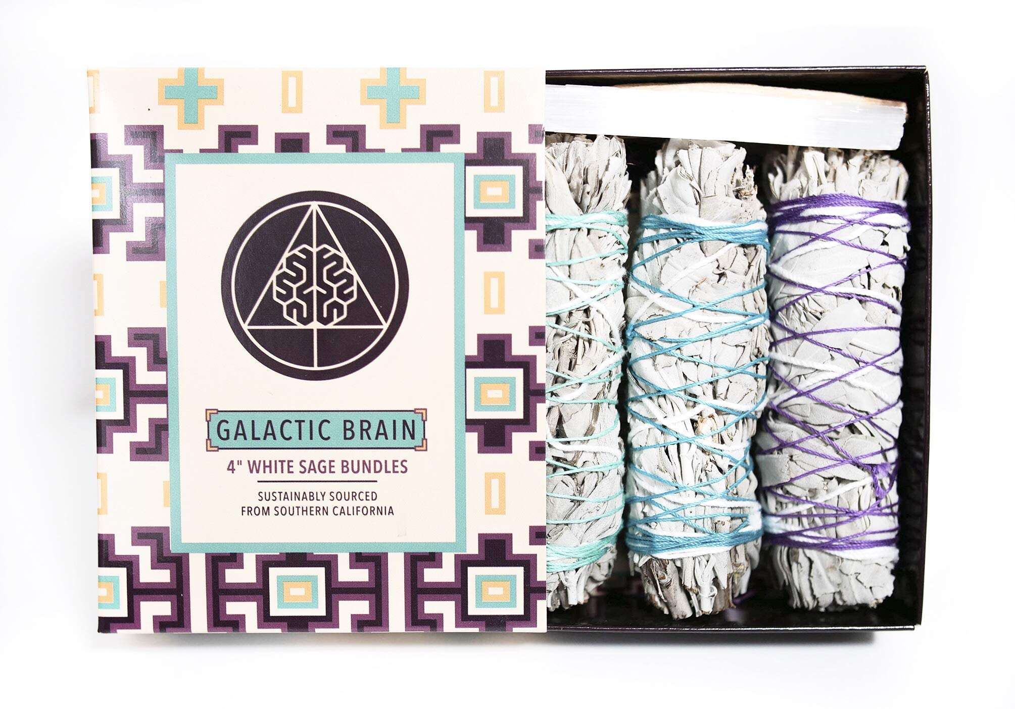 Galactic Brain 4 Inch White Sage Bundles | 3 White Sage Smudge Sticks with 2 Sample Palo Santo Sticks and 1 Selenite Crystal in Gift Set for Cleansing Your Home