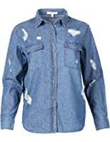 Made by Emma MBE Women's Relaxed Long Sleeve Distress Chambray Denim Button Down Shirt