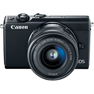Canon EOS M100 2209C011 Mirrorless Camera w/ 15 45mm Lens   Wi Fi, Bluetooth and NFC Enabled  Black  Point   Shoot Digital Cameras