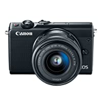 """Canon 2209C011 Mirrorless Camera EOS M100 24 MP with Lens, 15 mm, 45 mm, Black, 3"""" Touchscreen LCD, 16:9, 3X Optical Zoom, Optical (IS), E-TTL II, 6000 x 4000 Image, 1920 x 1080 Video, HDMI"""