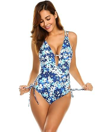 319883011df0b Ekouaer Swimwear Womens One Piece Swimsuits Monokini Sexy Cross Low Back  Padded Bathing Swimming Suit Beachwear  Amazon.co.uk  Clothing