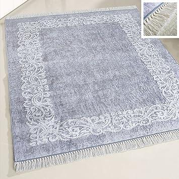 Amazon De Mynes Home Teppich Waschbar Grau Bordure Rutschhemmend