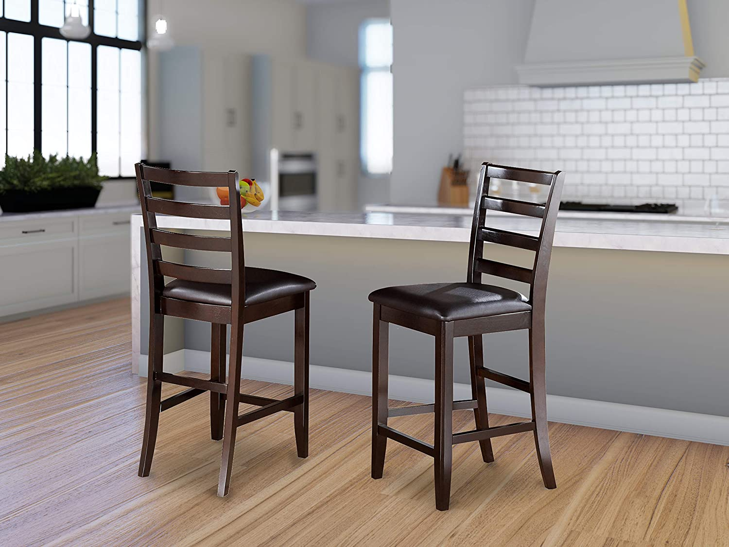 East-West Furniture Fairwinds counter height dining chairs-Faux Leather Seat and Cappuccino Hardwood Frame bar stools set of 2