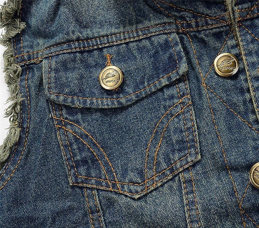 Gilet da Uomo Gilet di Jeans Senza Maniche Gilet di Giovane Jeans Biker Fashion Denim Slim Fit Outwear Coat Autunno Inverno