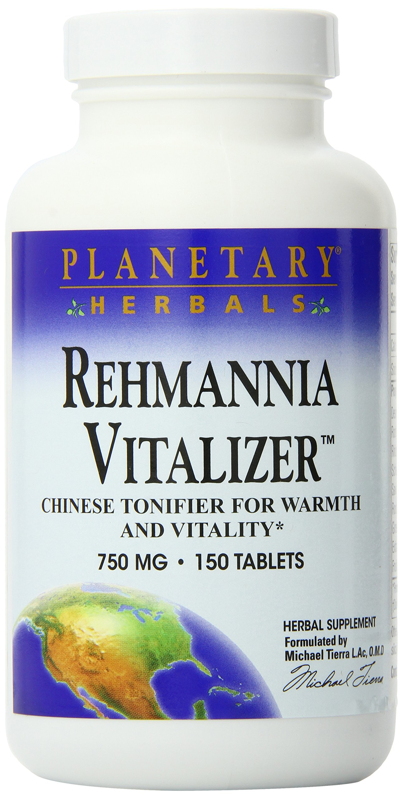 Planetary Herbals Rehmannia Vitalizer 750mg, Chinese Tonifier for Warmth and Vitality, 150 Tablets (Pack of 2)