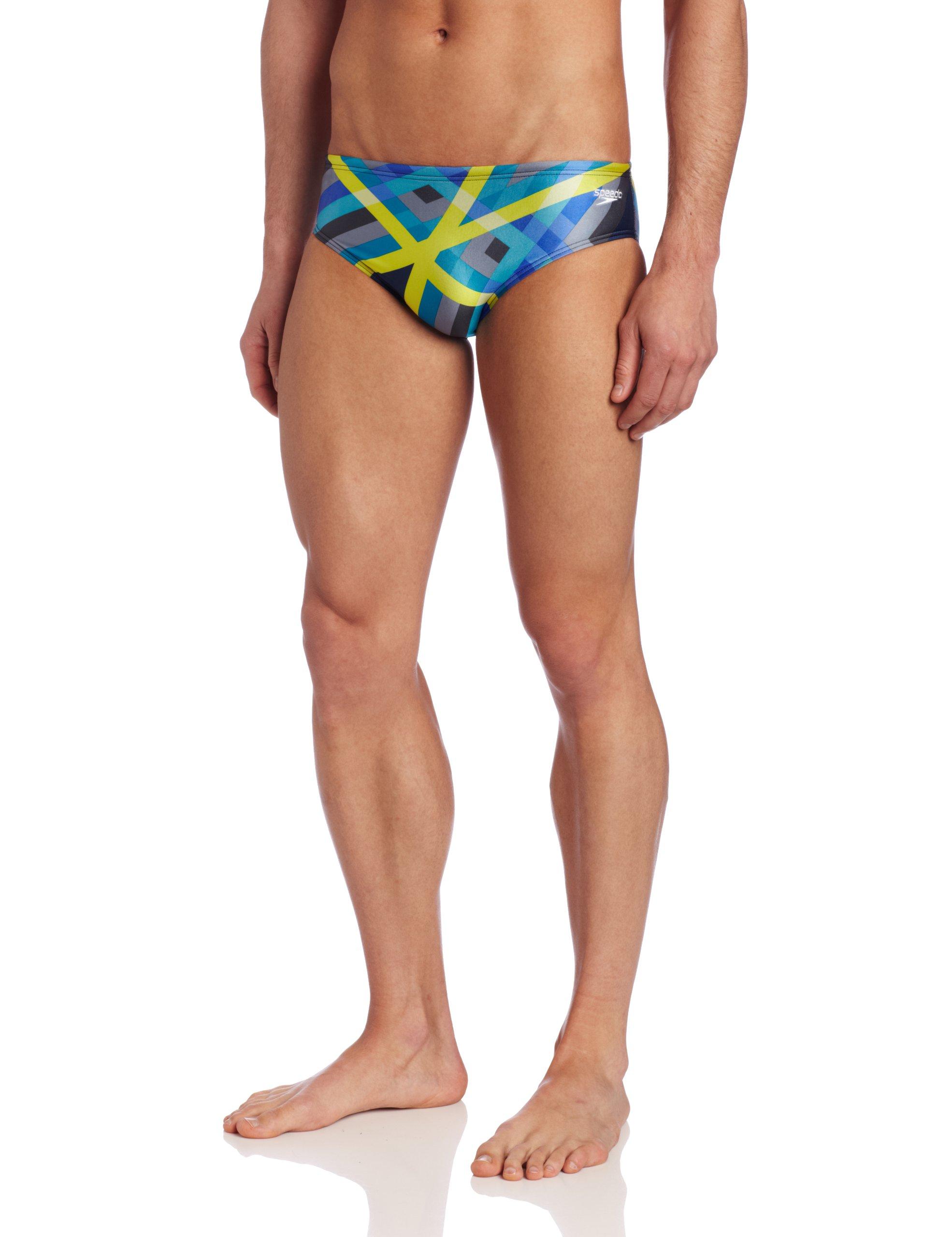 Speedo Men's Laser Stripe Brief Swimsuit, Blue, 38 by Speedo