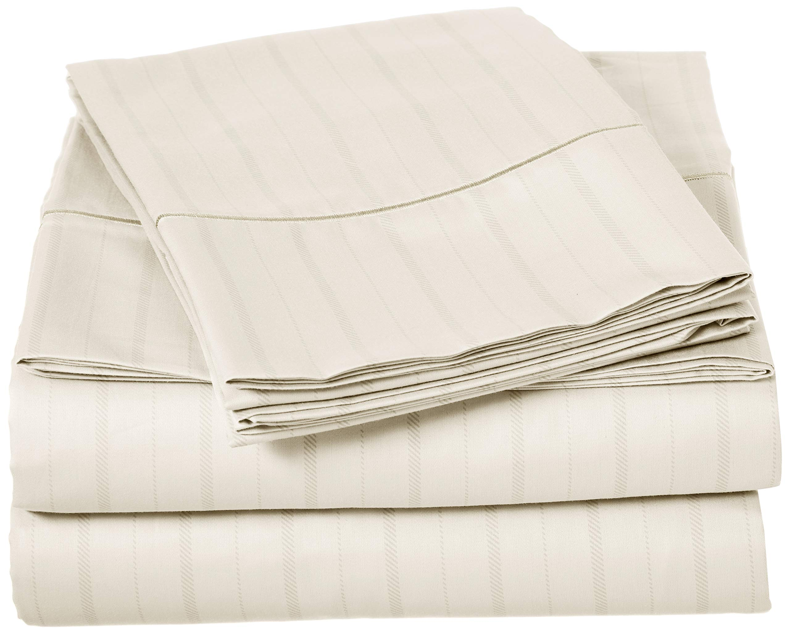 Charisma 310 Thread Count Classic Stripe Cotton Sateen Queen Sheet Set in Almond Milk by Charisma