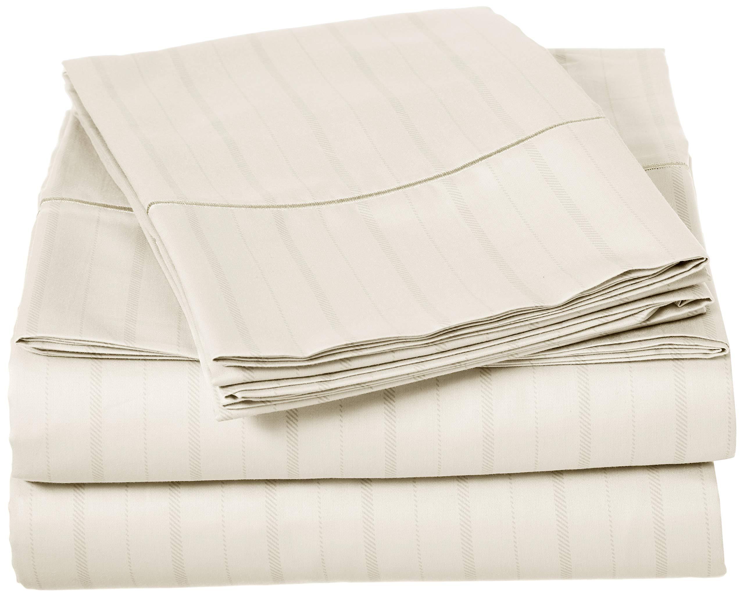 Charisma 310 Thread Count Classic Stripe Cotton Sateen Queen Sheet Set in Almond Milk