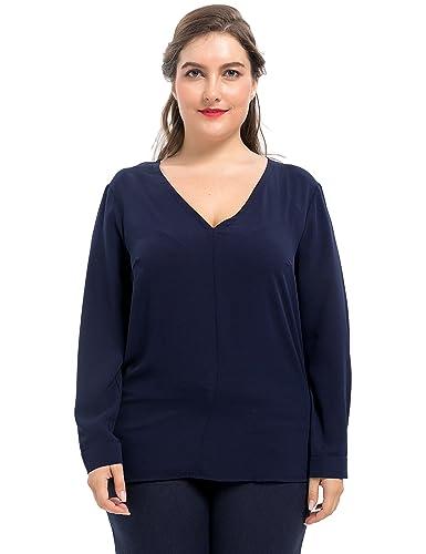 Chicwe Blusas Tops Tallas Grandes Mujeres Camiseta Elástica V-Cuello 1X-4X