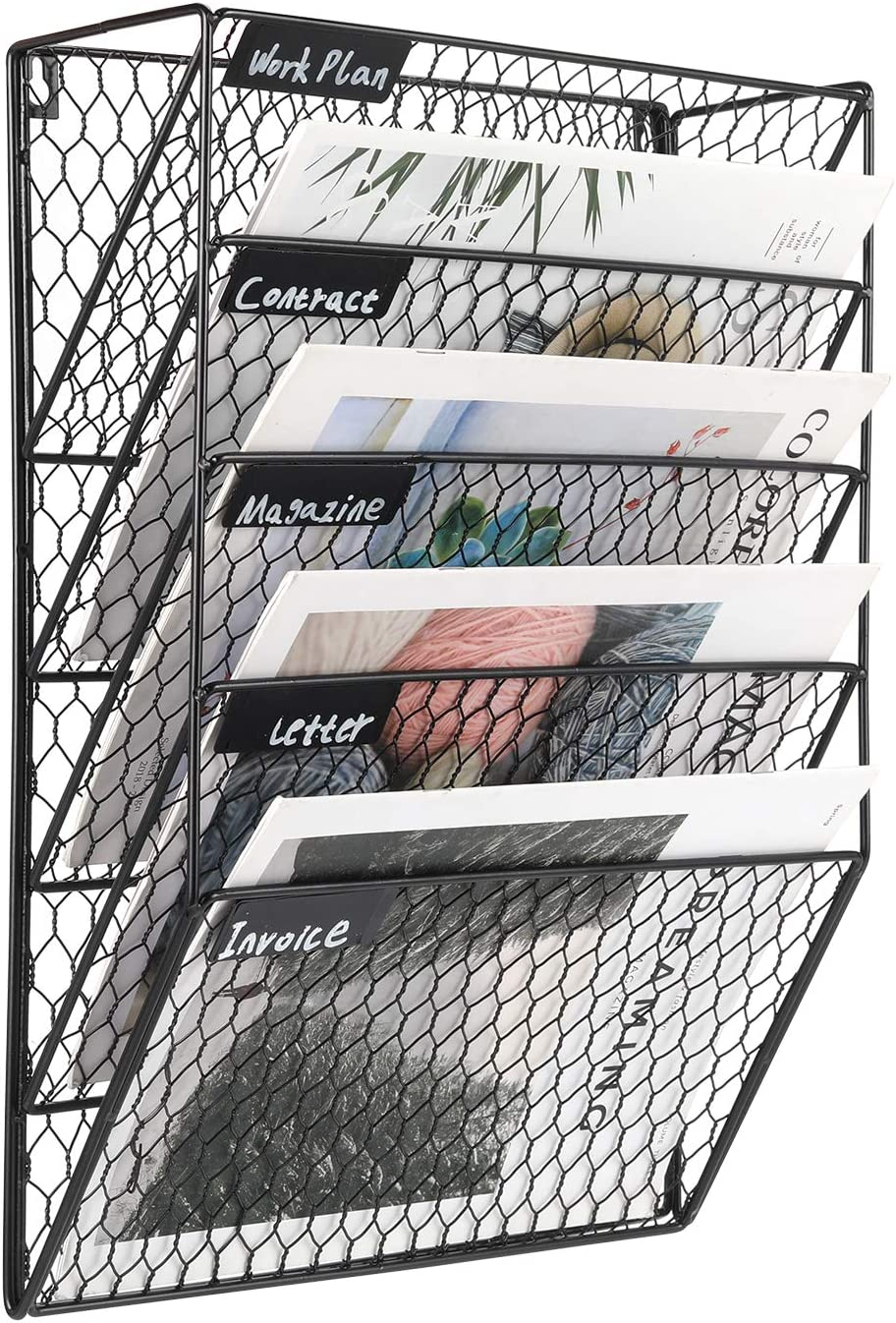 PAG 5 Tier Wall File Holder Hanging Mail Organizer Metal Chicken Wire Wall Mount Magazine Rack for Home and Office, Black