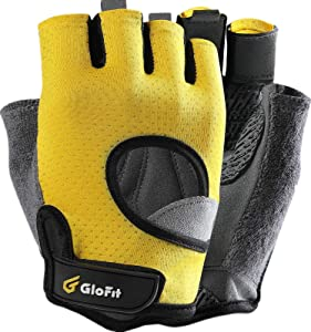 Glofit Freedom Workout Gloves, Knuckle Weight Lifting Shorty Fingerless Gloves with Curved Open Back, for Powerlifting, Gym, Women and Men