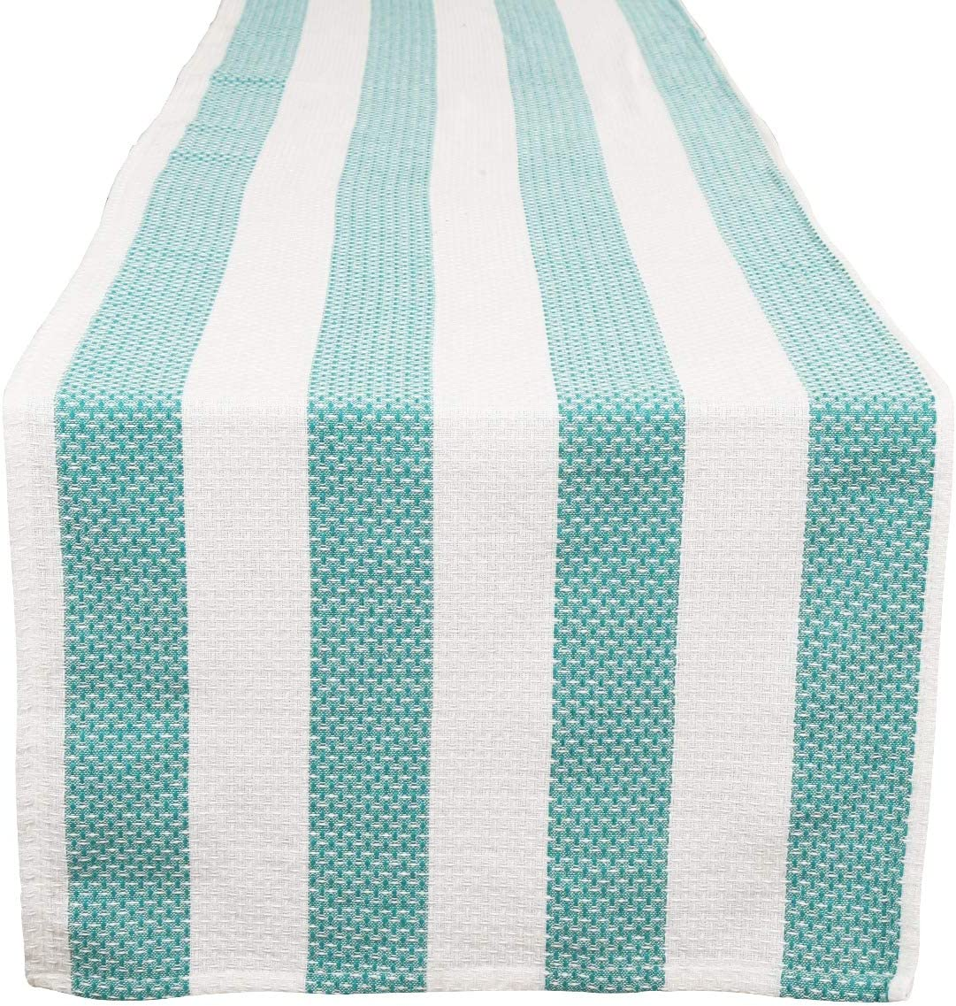 Ramanta Home Vintage Stripe Cotton Table Runner 72 Inch, for Family Gatherings or Dinners, Indoor/Outdoor, Everyday Use, Machine Washable, 16x72 Teal